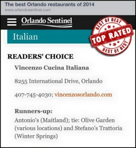 Voted #1 by Readers of the Orlando Sentinel
